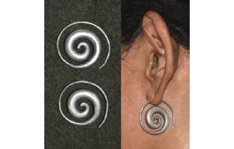 CHUNKY HAND MADE SPIRAL 97.5% SILVER EARRINGS E5 Image