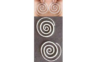 HAND MADE SPIRAL 97.5% SILVER EARRINGS E8 Image