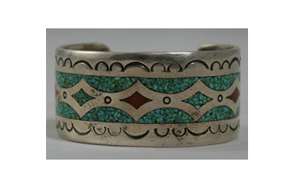 TURQUOISE & CORAL CHIP INLAY BRACELET Image