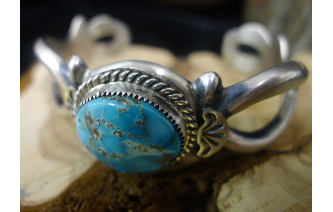 Pawn sterling silver bracelet w/turquoise stones Image