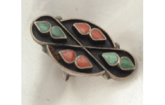Vtg Zuni Native American Sterling 4 Turquoise RING Image