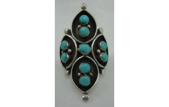 Awesome Native American Sterling & Turquoise Ring Image