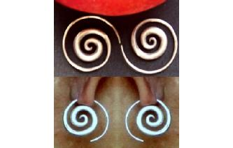 HAND MADE SPIRAL 97.5% SILVER EARRINGS E3 Image
