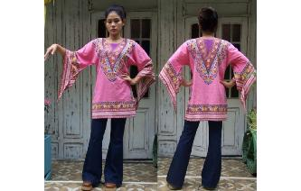 ETHNIC VINTAGE 70'S DASHIKI HIPPY GYPSY BLOUSE TOP Image