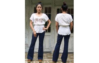 VTG ETHNIC CRAM EMBROIDERED BOHEMIAN GYPSY BLOUSE Image