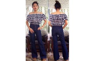 VINTAGE PLAID OFF SHOULDER BELL SLV BLOUSE TOP Image