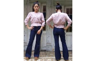 VTG EYELET CUT WORK PUFF SLV BOHEMIAN BLOUSE TOP Image