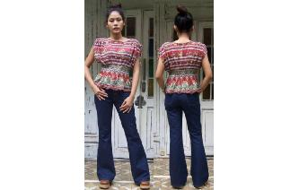 ETHNIC VTG INDIAN GAUZE DRAPED HIPPIE BOHO BLOUSE Image