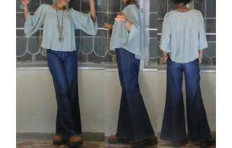 VINTAGE INDIAN GAUZE TRAPEZE HIPPIE BLOUSE TOP Image