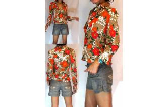HIPPIE Vtg 70's SKINNY PSYCHEDELIC INDIE SHIRT BL1 Image
