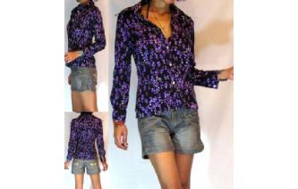 HIPPIE Vtg 70's SKINNY SMALL TULIP INDIE SHIRT BL4 Image