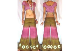 BOHO 70s FLARED HIPSTERS HIPPIE PANTS TROUSERS FP2 Image