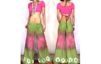 BOHO 70s FLARED HIPSTERS HIPPIE PANTS TROUSERS FP5 Image