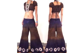 BOHO 70s FLARED HIPSTERS HIPPY PANTS TROUSERS FP14 Image
