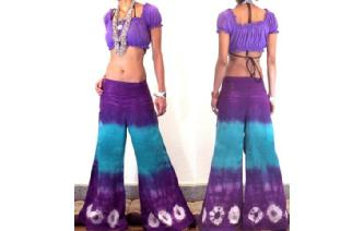 BOHO 70s FLARED HIPSTERS HIPPY PANTS TROUSERS FP15 Image