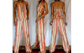 ETHNIC NEW STRIPED STRAPLESS JUMPSUIT PLAYSUIT JS3 Image