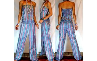 ETHNIC NEW STRIPED STRAPLESS JUMPSUIT PLAYSUIT JS4 Image