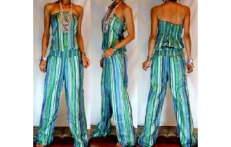 ETHNIC NEW STRIPED STRAPLESS JUMPSUIT PLAYSUIT JS6 Image