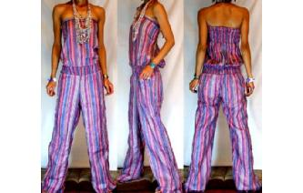 ETHNIC NEW STRIPED STRAPLESS JUMPSUIT PLAYSUIT JS7 Image