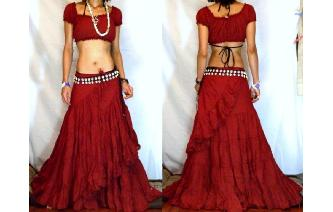 BOHO GYPSY BIG & LONG BELLY DANCE WRAP SKIRT FK 8 Image