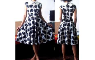VTG 50's B&W FULL PANELED SKIRT PROM DRESS VT1 Image