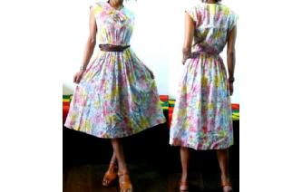 VTG 50's FISBA COTTON CUT WORK TIEDYE DRESS VT2 Image