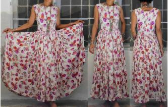 VINTAGE 50'S FLOWERS POWER PRINTED MAXI TEA DRESS Image