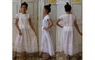VTG WHITE CUT WORK LACE EDWADIAN BOHO SHEER DRESS Image