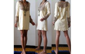 VTG 70'S ETHNIC GAUZE CROCHET KNITE MINI DRESS VT4 Image