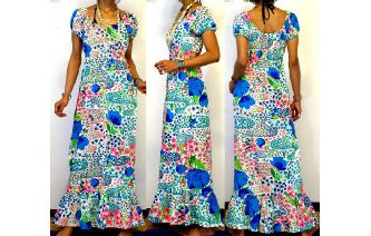 VTG 70'S COLORFUL FLORAL BOHO LONG MAXI DRESS VT6 Image