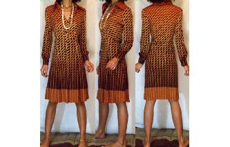 Vtg 70's BLACK BRUNT BROWN LONG SLV SHIRT DRESS VT Image