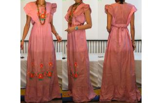 VINTAGE EMBROIDERED RUFFLED MAXI SHEER DRESS Image