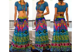 ETNIC VINTAGE PSYCHEDELIC HIPPIE MAXI SHEER SKIRT Image