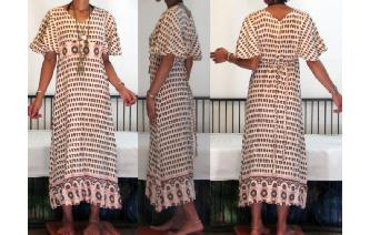 ETHNIC VINTAGE INDIAN COTTON BOHEMIAN MAXI DRESS Image