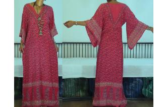 ETHNIC VINTAGE INDIAN COTTON HIPPIE MAXI DRESS Image