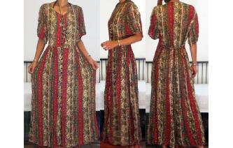 VINTAGE ETHNIC GYPSY BOHIMIAN HIPPIE MAXI DRESS Image