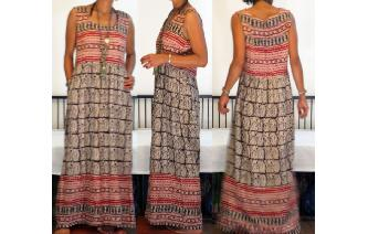 ETHNIC VINTAGE INDIA COTTON TRIBAL BOHO MAXI DRESS Image