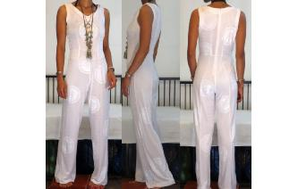 VINTAGE SIMPLY WHITE JUMPSUIT PLAYSUIT Image