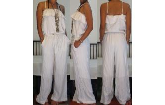 VINTAGE 70'S GYPSY BOHO WHITE JUMPSUIT PLAYSUIT Image