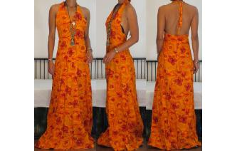 VINTAGE 70'S DEEP V NECK HALTER MAXI DAY SUN DRESS Image