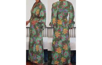 VINTAGE 70'S BELL SLV LOUNGEWEAR MAXI HIPPIE DRESS Image