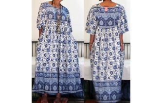 VINTAGE INDIAN COTTON GYPSY HIPPIE BOHO MAXI DRESS Image
