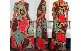 ETHNIC VINTAGE COLORS BLOCK HIPPIE MAXI DAY DRESS Image