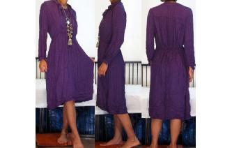 VINTAGE 70'S JERSEY LONG SLEEVES TEA DRESS 14 Image