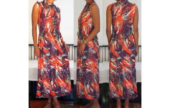 VINTAGE 70'S KEY HOLE JUNGLE PRINTED MAXI DRESS Image