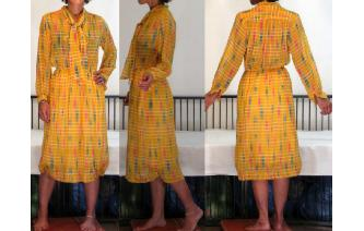 VINTAGE 70'S SECRETARY LONG SLEEVES SILKY DRESS Image