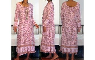 VTG 70'S INDIAN COTTON HIPPY BOHO GYPSY MAXI DRESS Image