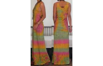 VTG 70'S GYPSY BOHO TIEDYE HIPPIE LONG MAXI DRESS Image