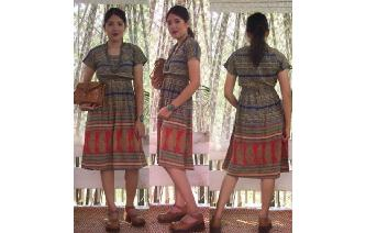 ETHNIC VINTAGE INDIAN COTTON PAISLEY HIPPIE DRESS Image