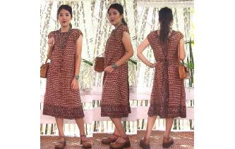 ETHNIC VTG 70'S INDIAN COTTON SMOCK BOHO DRESS L Image